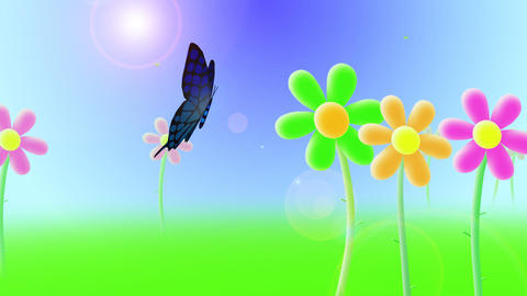 Butterfly flying over flowers Animation