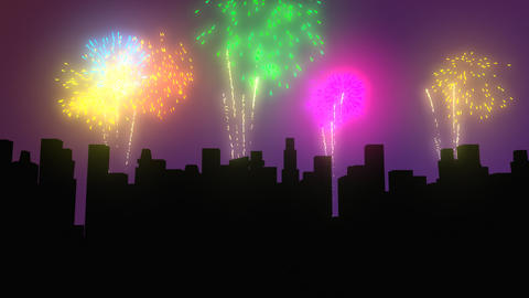 Fireworks above city by night Stock Video Footage