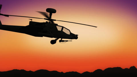 Apache helicopter passing by during sundown Animation