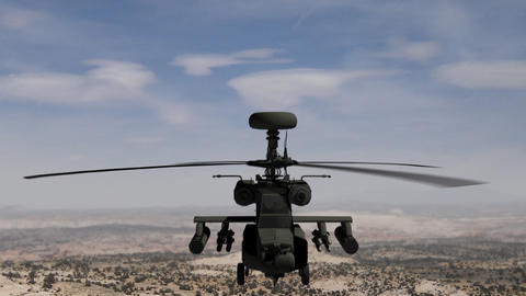 Apache helicopter hovering in the sky Animation