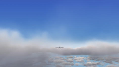 Animation of airplane flying above clouds - front view Animation