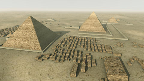 Rotating above a 3D animation of the Giza platform Egypt. Loop-able Animation
