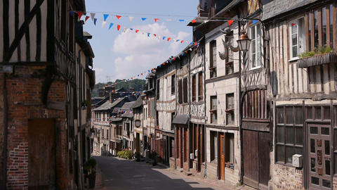 Half timbered houses in Cormeilles, Normandy France Live Action