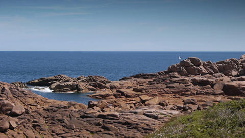 Ploumanach granite red. Bretagne France Footage