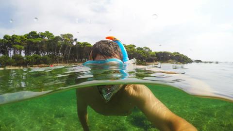 Man snorkeling in Sardinia, Italy Footage