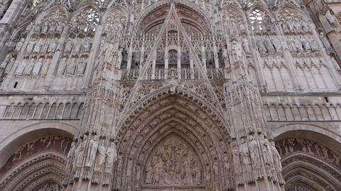 Cathedral front exterior in Rouen, Normandy France, TILT Footage