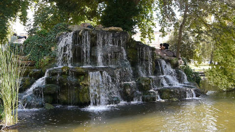 Waterfall in Rouen, Normandy France Live Action