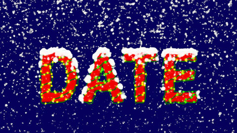 New Year text text DATE. Snow falls. Christmas mood, looped video. Alpha channel Animation
