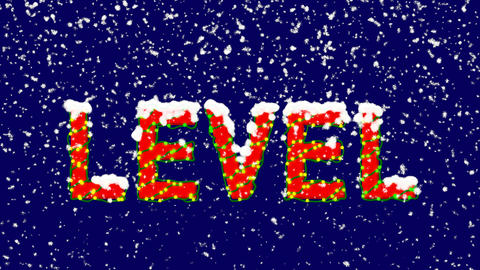 New Year text text LEVEL. Snow falls. Christmas mood, looped video. Alpha Animation