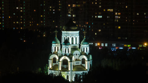 night curch in Moscow Footage