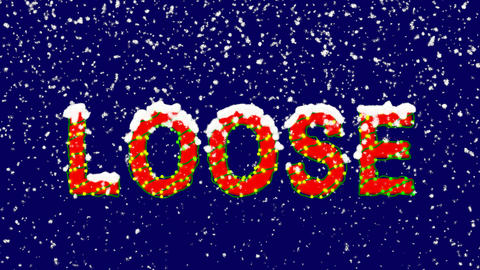 New Year text text LOOSE. Snow falls. Christmas mood, looped video. Alpha CG動画