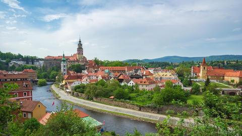 Time lapse video of Cesky Krumlov city skyline in Czech Republic timelapse 4K Live Action