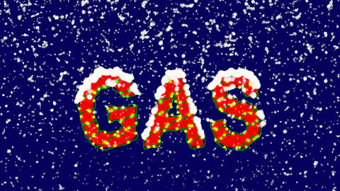 New Year text text GAS. Snow falls. Christmas mood, looped video. Alpha channel Animation