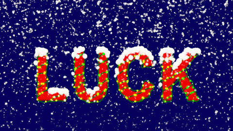 New Year text text LUCK. Snow falls. Christmas mood, looped video. Alpha channel Animation