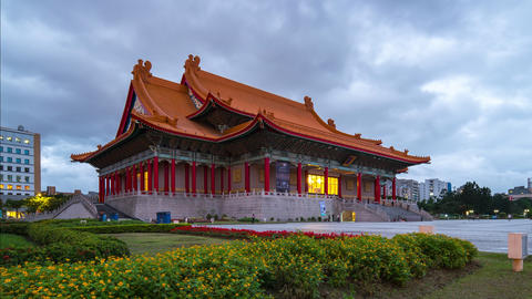 Time lapse video of Chiang Kai-shek Memorial Hall day to night timelapse in Footage
