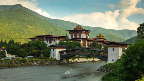 Time Lapse Of The Punakha Dzong In Bhutan GIF