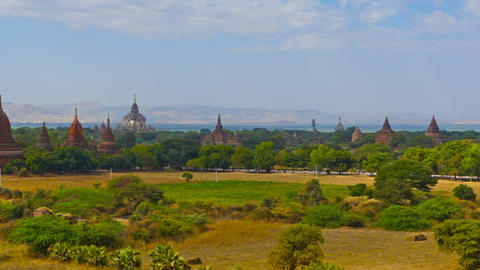 Panorama landscape with Temples in Bagan Footage