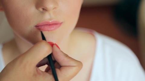 Make-up artist makes makeup bride Footage