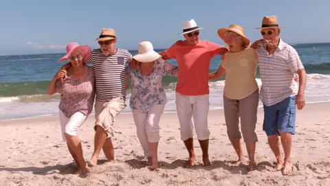 Group of mature people dancing arm in arm Stock Video Footage