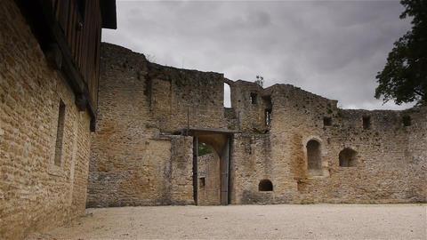 Castle Crevecoeur en Auge exterior in Normandy France Footage