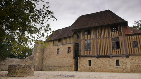 Exterior of castle Crevecoeur en Auge in Normandy France Footage