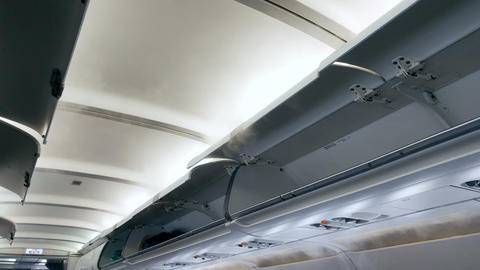 4k video of cooling airplane. Cold steam flowing from air vents at the ceiling ライブ動画