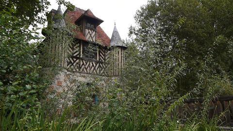 Castle Crevecoeur en Auge half timbered in Normandy France Live Action