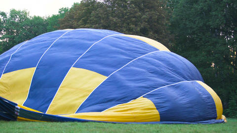 Hot air ballooning competition, view of envelope containing heated air Live Action