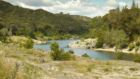 Gardon river at Pont du Gard, France Footage