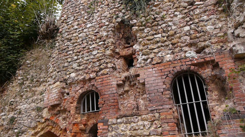 Ruined exterior of priory of Beaumont le Roger, Normandy France, TILT Live Action