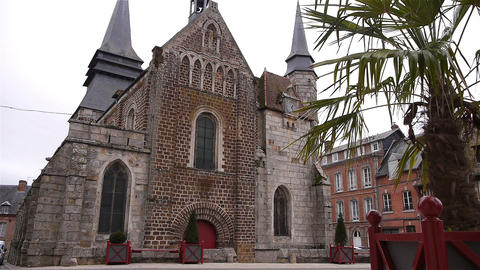 Front exterior of church in Broglie, Normandy France Footage