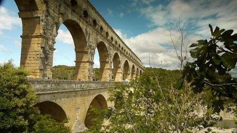Pont du Gard in South France Live Action