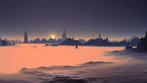 Sunrise over the Alien Foggy Planet GIF