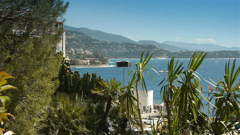 Bay and coastline of Monaco, Cote D'Azur France Live Action