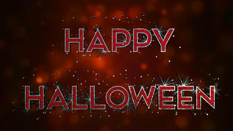 Happy Halloween 3D Text Effect - Metal And Blood Footage