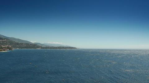 Azure blue sea at Monaco, Cote D'Azur France Live Action