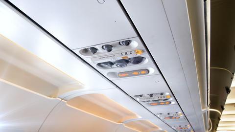 4k video of control panel above passenger seat at jet airplane ライブ動画