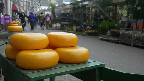 Cheese and flowers in Amsterdam 4K Footage