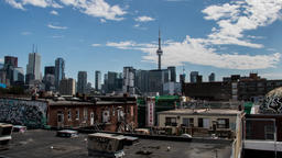 Time Lapse Aerial View of the Toronto skyline with the CN Tower. Time Lapse Footage