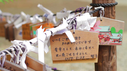 Votive tablets at Nezu shrine in Yushima medium shot shallow focus Live Action