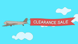 Airplane is passing through the clouds with Clearance Sale banner - Seamless GIF