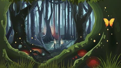 Fantasy Forest Illustration Dark Night Magic Trees フォト