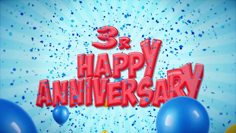 6. 3rd Happy Anniversary Red Greeting and Wishes with Balloons, Confetti Looped Footage