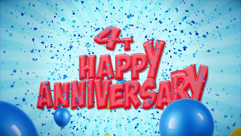 8. 4th Happy Anniversary Red Greeting and Wishes with Balloons, Confetti Looped Footage
