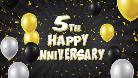9. 5th Happy Anniversary Black Greeting and Wishes with Balloons, Confetti Footage