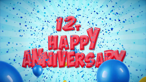 24. 12th Happy Anniversary Red Greeting and Wishes with Balloons, Confetti Live Action