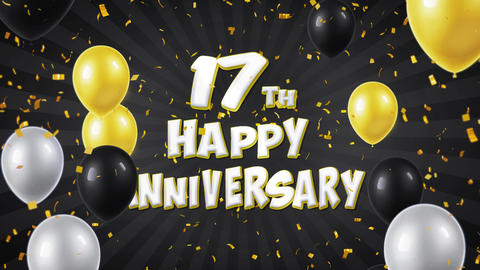 33. 17th Happy Anniversary Black Greeting and Wishes with Balloons, Confetti Footage