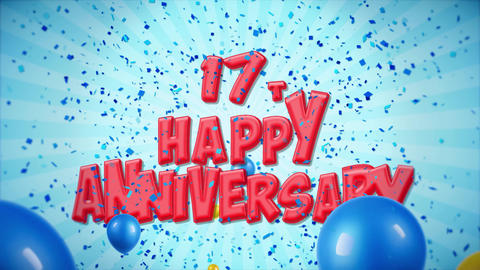 34. 17th Happy Anniversary Red Greeting and Wishes with Balloons, Confetti Footage