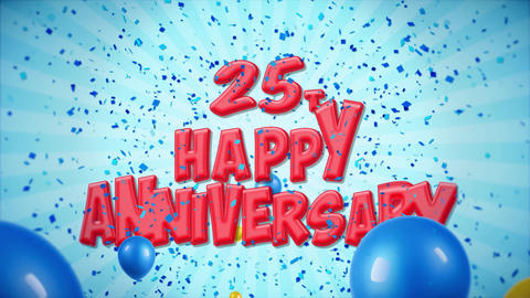 42. 25th Happy Anniversary Red Greeting and Wishes with Balloons, Confetti Footage
