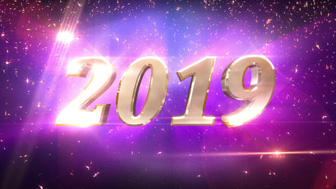 New Year 2019 Countdown Animation CG動画素材
